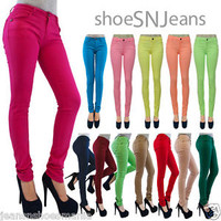 NEW Women Popular Basic Cotton Slim Pants Colorful Pencil Skinny Jeggings Bottom