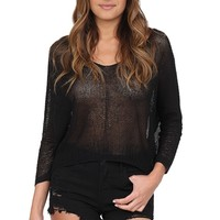 Black Open Knit Sweater at Blush Boutique Miami - ShopBlush.com : Blush Boutique Miami – ShopBlush.com