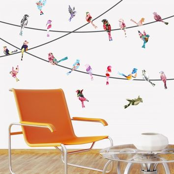 Watercolor Birds on a Wire Wall Decals
