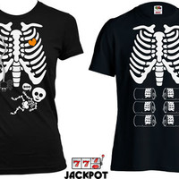 Matching Halloween Couples Costume Pregnancy Halloween Costume Maternity Skeleton T Shirt Halloween Pregnancy Announcement Shirt MD-555-565