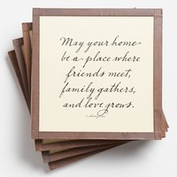Ben's Garden 'May Your Home be a Place' Coaster Set - White