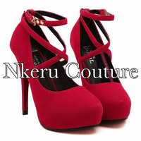 Sexy Women's Pumps With Round Toe and Cross-Straps Design #8998779