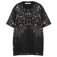 Indie Designs Givenchy Inspired Black Constellation Print Cotton T-shirt