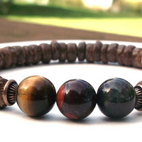 Men's Tiger Eye Bracelet, Men's Red Tiger Eye, Mens Blue Tiger Eye, Men's Gemstone Bracelet, Gift for Him, Men Bracelets