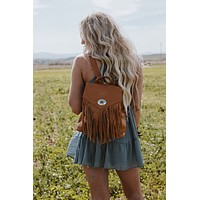 Fringed Concho Backpack - Tan