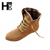 HEE GRAND Woman Martin Ankle Boots Fashion Flat Motorcycle Boots Female Artificial Leather Lace-Up Women Shoes Plus Size  XWX108