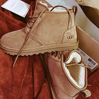 UGG new plush mid-cut couple lace-up snow boots shoes-1