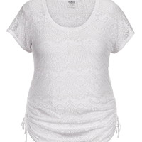 Plus Size - Ethnic Print Burnout Cinched Side Tee