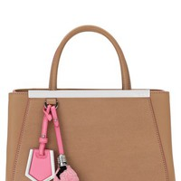 Fendi 'Petite 2Jours' Leather Shopper & Genuine Shearling Light Bulb Bag Charm | Nordstrom