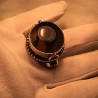 Large stone Brass knuckle poison pillbox adjustable ring