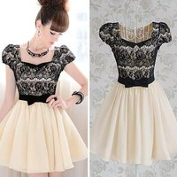 Diamond Bow Lace Dress BADG from foreverunique