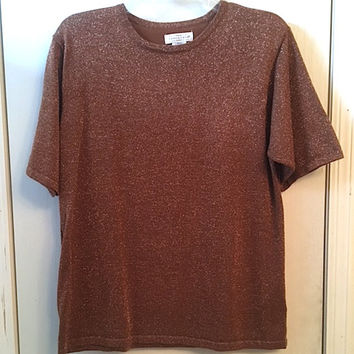 Vintage 80's Copper Metallic Short Sleeved Sweater, Lightweight T-shirt Style Sweater Size L, Yarnworks Simple Classic Basic Sweater Blouse