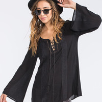 Socialite Crochet Inset Womens Peasant Top Black  In Sizes