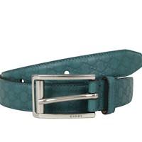 Gucci Mens Teal Leather Guccissima Belt Metal Buckle 281798 4715 90 / 36