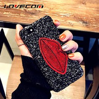 LOVECOM DIY Sexy Red Lip Glitter Powder Phone Case for Iphone 7 7 Plus 6 6S Plus 5 5S SE Hard PC Luxury Sequins Back Cover Coque