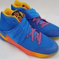 Nike Kyrie II 2 PROMO EYBL Basketball Gold Blue Shoes Size 6.5 Youth 848974-470