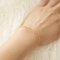 Bracelets & bangles Dainty Double-Layer Satellite Chain Gold Bracelet Wedding Gift