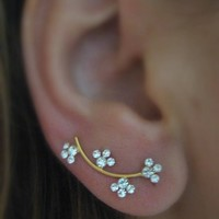 Ear Sweep Wrap - Cuff Earring with Swarovsky - Gold Filled - Nr.6