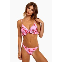 Quella Ruffled Triangle Bikini Top - Candy Rose