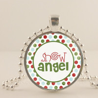 "Snow Angel, 1"" glass and metal Pendant necklace Jewelry."