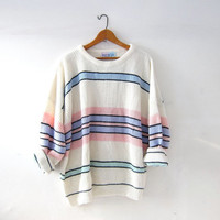 Vintage loose knit sweater. Pastel Colors. Oversized sweater. Striped sweater. Minimalist sweater.