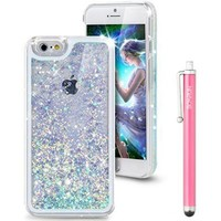 iPhone 6S Case, Liquid Case for iPhone 6S,Flowing Liquid Floating Luxury Bling Glitter Sparkle Love Heart Hard Case for Apple iPhone 6S (2015) & iPhone 6 (2014)(Love:Blue)