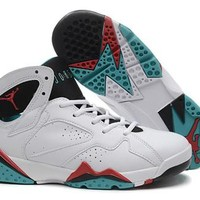 Hot Air Jordan 7 (VII) Retro Women Shoes White Red Green