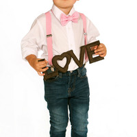 Boys Valentines Outfit -- Baby Valentines Outfit -- Pink Suspenders & Blush Pink Bow Tie -- Suspenders Bow Tie -- Ring Bearer Outfit