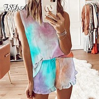 Fsda O Hals Zomer Tie Dye Vrouwen Set Mouwloos Shirt Top En Mini Shorts Casual Tweedelige Set Thuis Suits losse Outfits