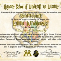 Hufflepuff Personalized Harry Potter Diploma - Hogwarts School of Witchcraft and Wizardry Degree