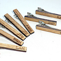 5-7-9 Groomsmen gift Set Personalized Tie Clip Wood Groomsmen gift ideas Groomsmen Valentines gifts for him Wedding Gifts for men