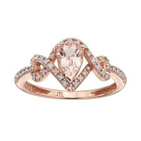 Morganite & 1/8 Carat T.W. Diamond 10k Rose Gold Teardrop Ring (Pink)