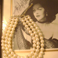Pearl Necklace Vintage Triple Strand Pearl Rhinestone Necklace