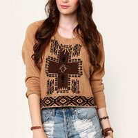 Obey Mystic Spirit Brown Cropped Sweater