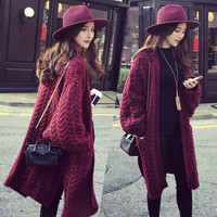 Batwing Cable Dropped Shoulder Long Split Solid Sweater