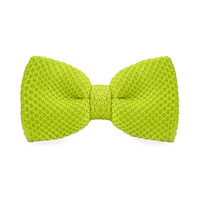 Men's Fashion Bowtie Green Knitting Adjustable Wool Bowtie For Wedding Party Business