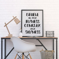 Believe In Your Flyness Print Motivational Print Typography print Wall Art Kanye West Art Office Art Motivational Print Inspirational quote