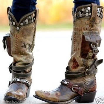 DD9004A Double D Ranch Lane Frontier Trapper Western Leather Cowgirl Boots