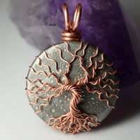 Full Moon Tree of Life Pendant Copper Wire Wrapped Moon Necklace Cape Cod Cabochons Mixed Metal Tree of Life Yggdrasil Celtic