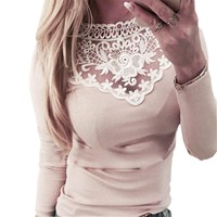 Sexy Lady 2018 Basic Shirts O-neck Long Sleeve Tops Kawaii Cut Out Lace Patchwork Fit Spring Women Shirts Plus Size GV362