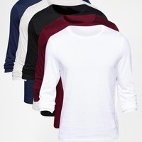 ASOS Slim Fit Long Sleeve T-Shirt With Crew Neck 5 Pack Save 25%