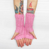 Pink Wrist Warmer Texting Gloves, vegan friendly, ready to ship.