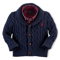 Ralph Lauren Childrenswear Baby Boys Cable Knit Shawl Collar Cardigan