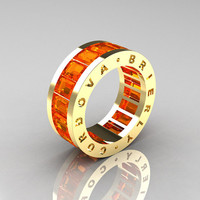 Mens Modern 14K Yellow Gold Orange Sapphire Channel Cluster Infinity Wedding Band R174-14YGOS