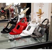 LV Louis Vuitton Women's Leather High-heeled Sandals Shoes