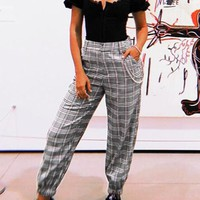 Black Plaid Print Houndstooth Pockets Chain High Waisted Trendy Casual Long Pants
