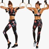 2017 Brand New Women Sports Gym Yoga Running Fitness Leggings Pants Athletic Ventilate Trousers Floral Yoga Sport Pants