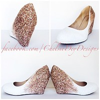 Rose Gold Wedge Glitter Pumps, White Ombre Wedding High Heels