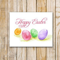 Watercolor Easter Eggs Wall Art Printable - 8 x 10 and 5 x 7 - Instant Download DIY Easter Card Easter Art