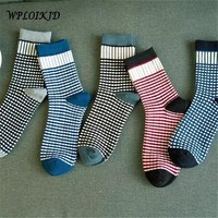 Plaid Cotton Socks Women's Cute Ankle Socks Female Tube Socks